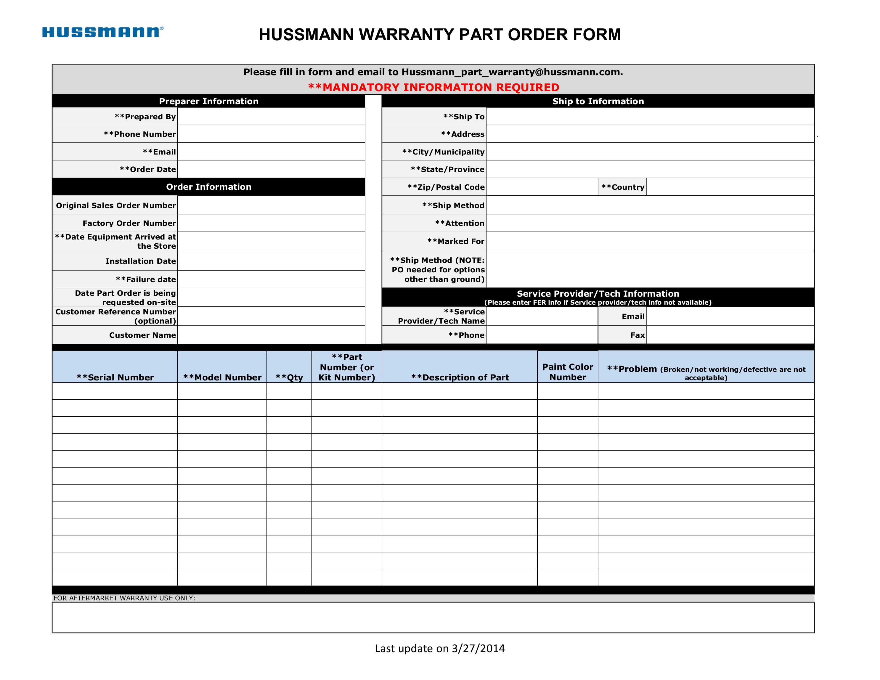 Contact Information Hussmann Performance Parts EStore – Customer Contact Information Form